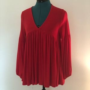 Anthropologie Soft & Sexy Back Button Poet in RED
